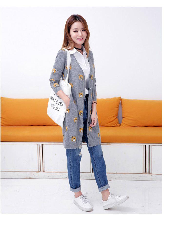 韩版时尚动物图案灰色针织开衫