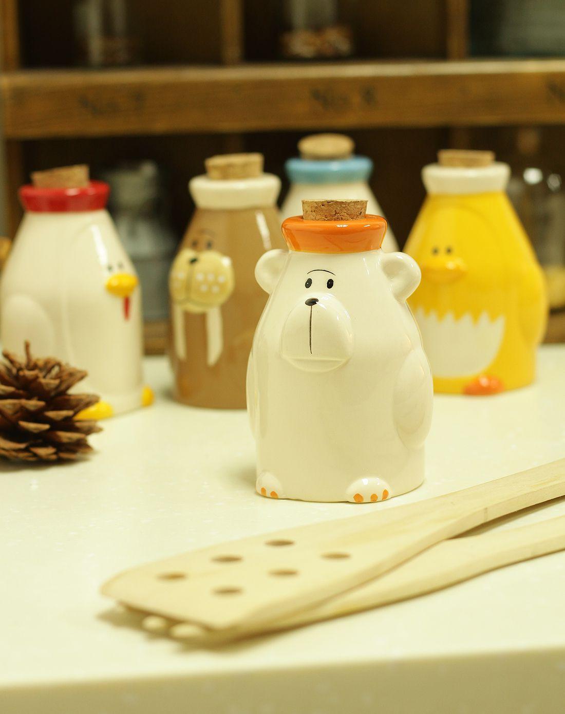 (海豹)极地动物卡通厨房陶瓷调料罐
