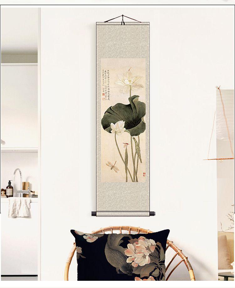 中式古典丝绸水墨画卷轴 婀娜多姿