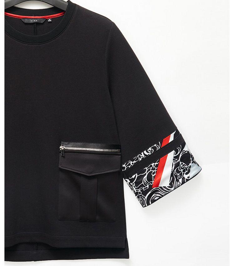 黑色民族风印花七分袖t恤