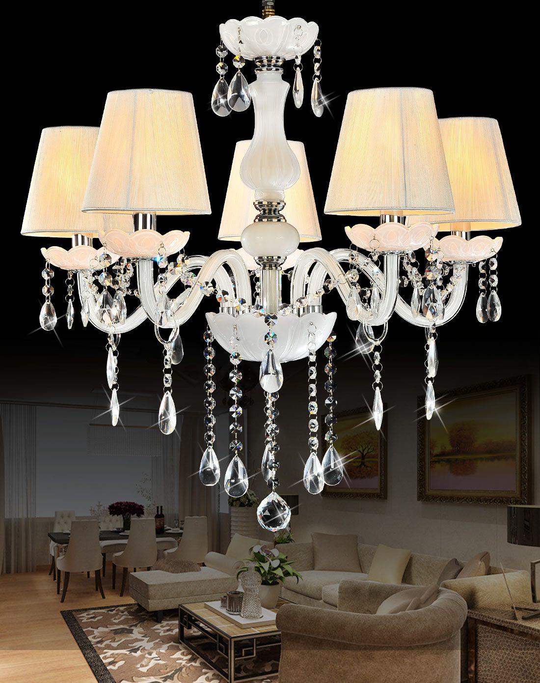 5头白色水晶吊灯 欧式公主房吊灯