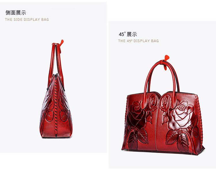 女士红色牛皮中国风手绘奢华手提包