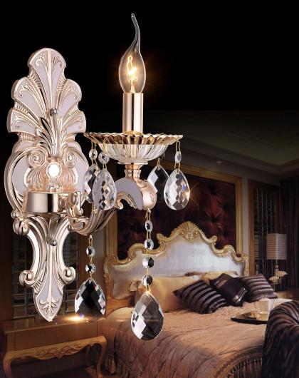 单头欧式水晶壁灯 锌合金