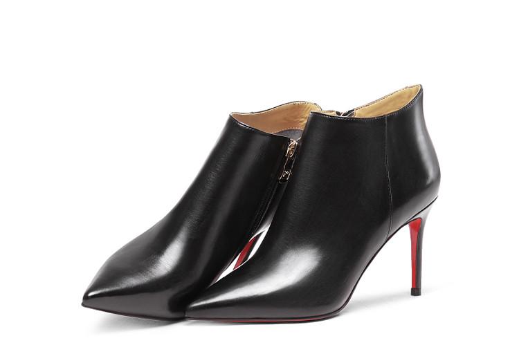 柯玛妮克komanic16冬红牛皮-胎棕色性感细高跟短靴k尖头花太漂亮啦姐妹图片