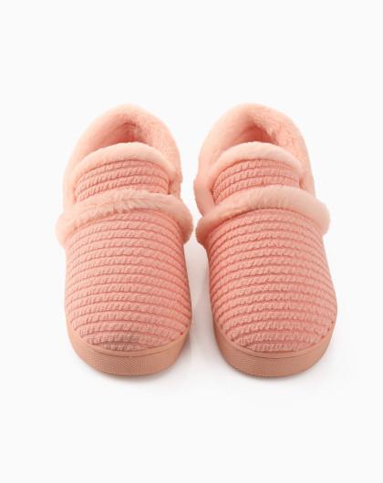 针织鞋面 粉色女款横纹毛线拖鞋