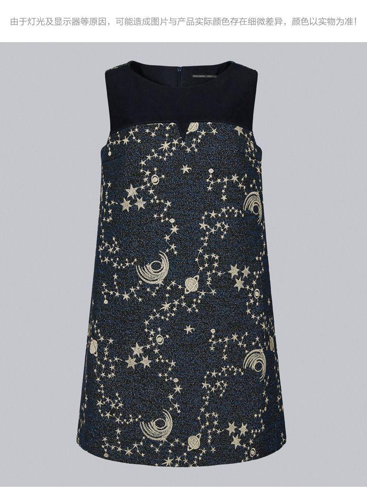 蓝色纹样星空刺绣连衣裙