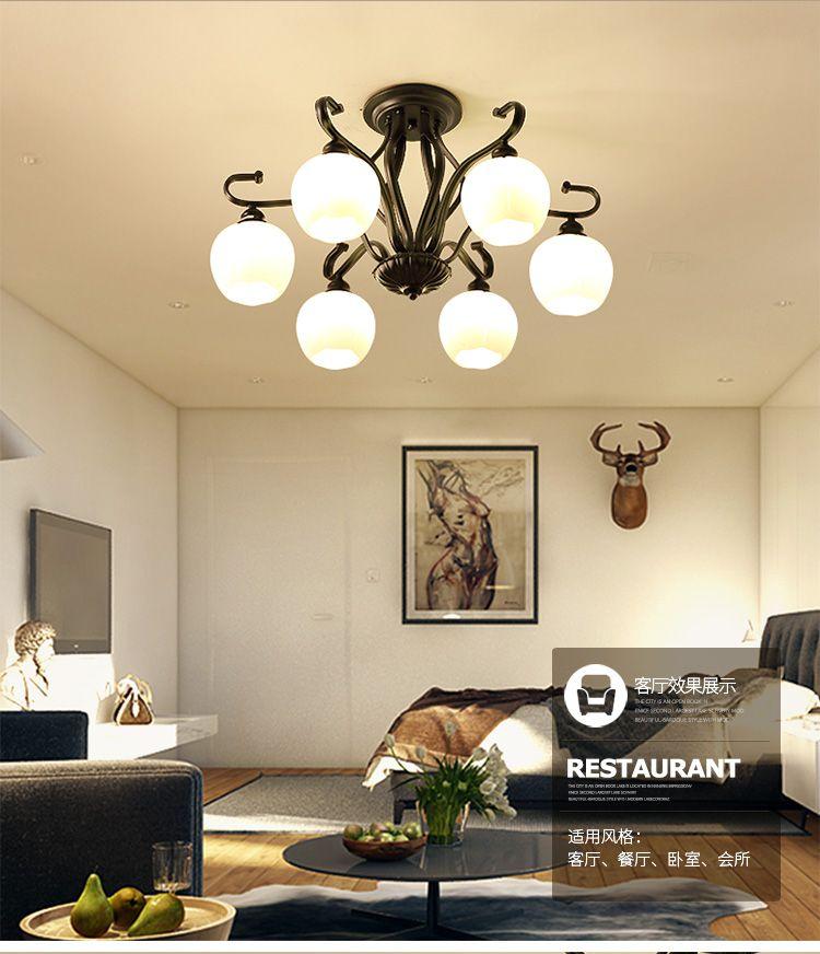 美式简约客厅书房铁艺玻璃6头吸顶灯图片
