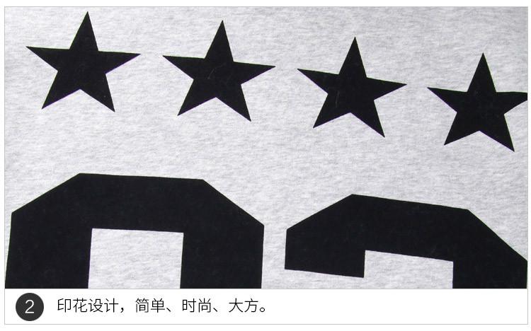 韩版字母印花灰色加绒卫衣