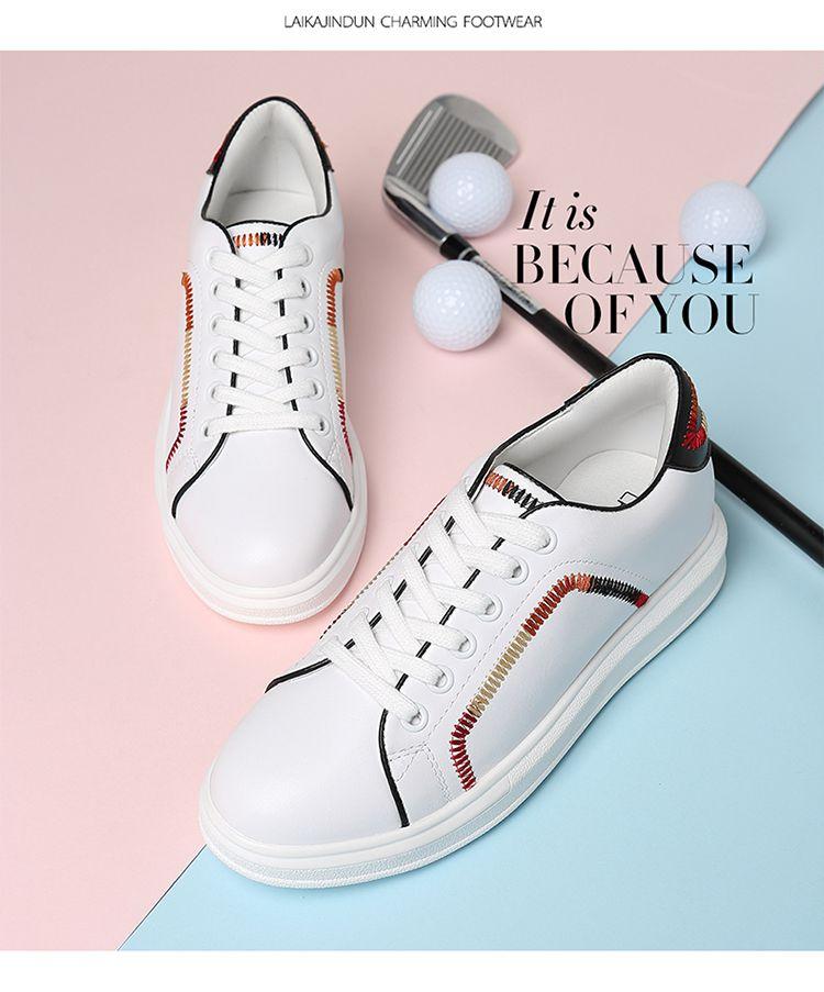 【2017新品】民族风缝线个性休闲平底小白鞋
