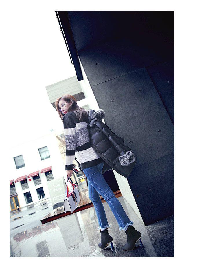 韩版黑白条纹时尚潮流圆领毛衣