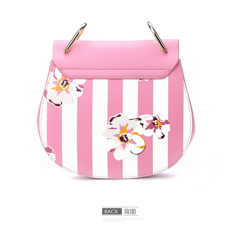 2016春夏新款粉色条纹印花小猪包
