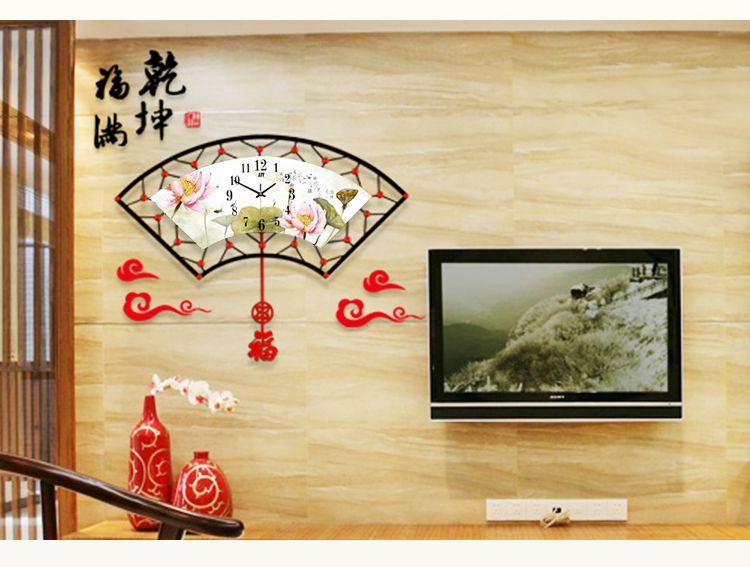 柠檬树新中式家居装饰专场直发货 扇形铁艺荷花挂钟 百年好合图片