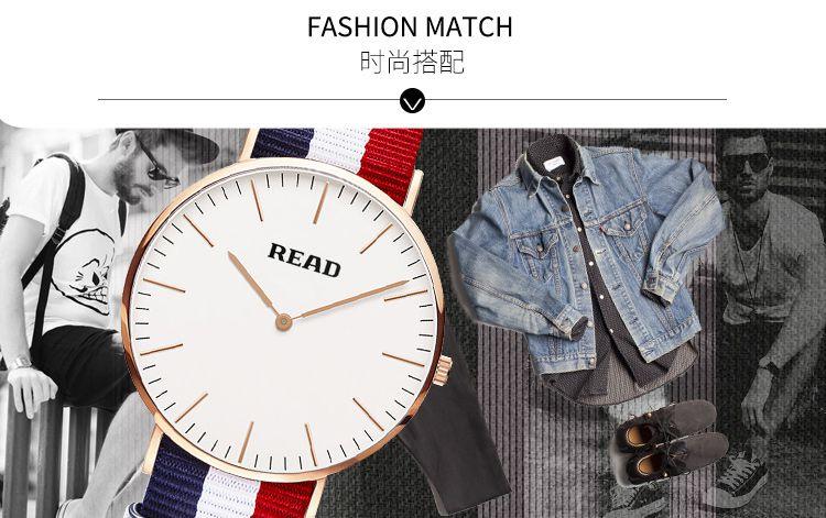 锐力手表专场 时尚帆布带超薄两针设计进口机芯石英男表