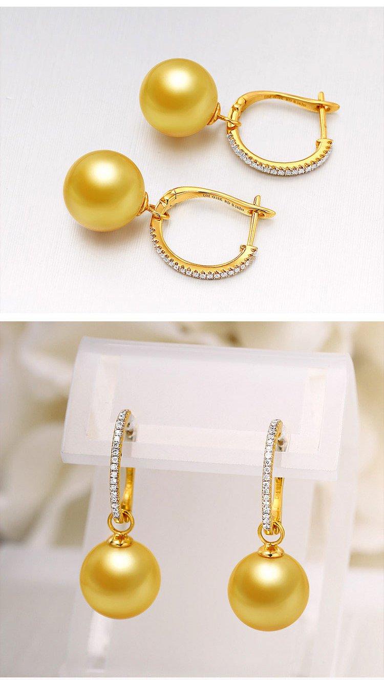 daimi 18k金10-11mm南洋金珠耳环镶嵌真钻