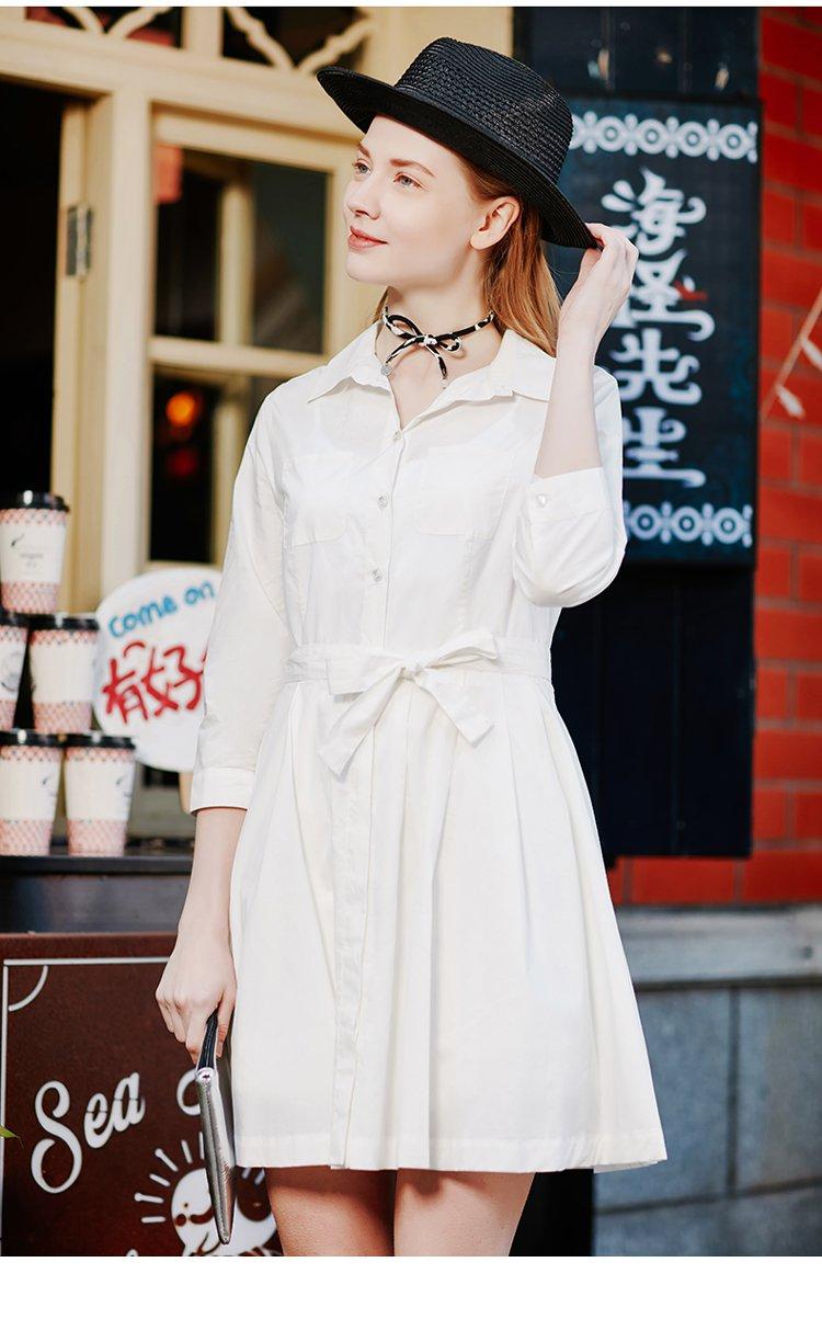 棉质收腰裙摆衬衫式连衣裙本白