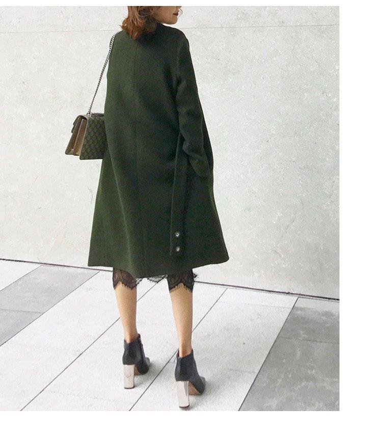 墨绿色纯色圆环装饰腰带呢大衣