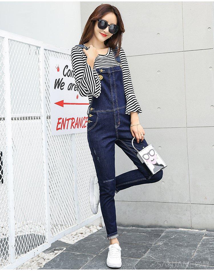 圆领喇叭袖条纹针织衫 牛仔修身休闲背带裤黑白条纹 深蓝