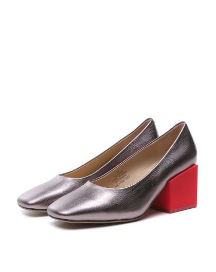 时尚贴膜牙签纹牛皮 高跟鞋 大方跟拼色方头浅口单鞋