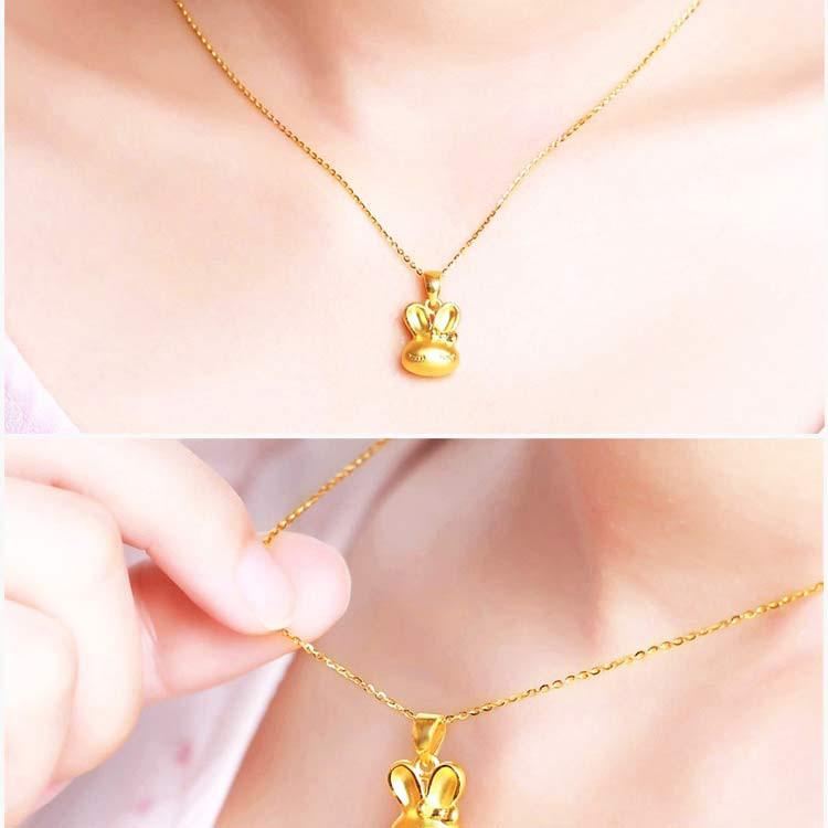 俏皮兔 张万福3d硬金可爱小兔子吊坠(不含链)(计价)