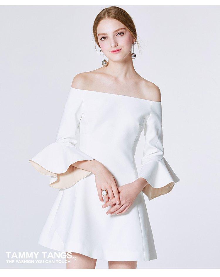 一字肩连衣裙时尚一字领礼服裙子