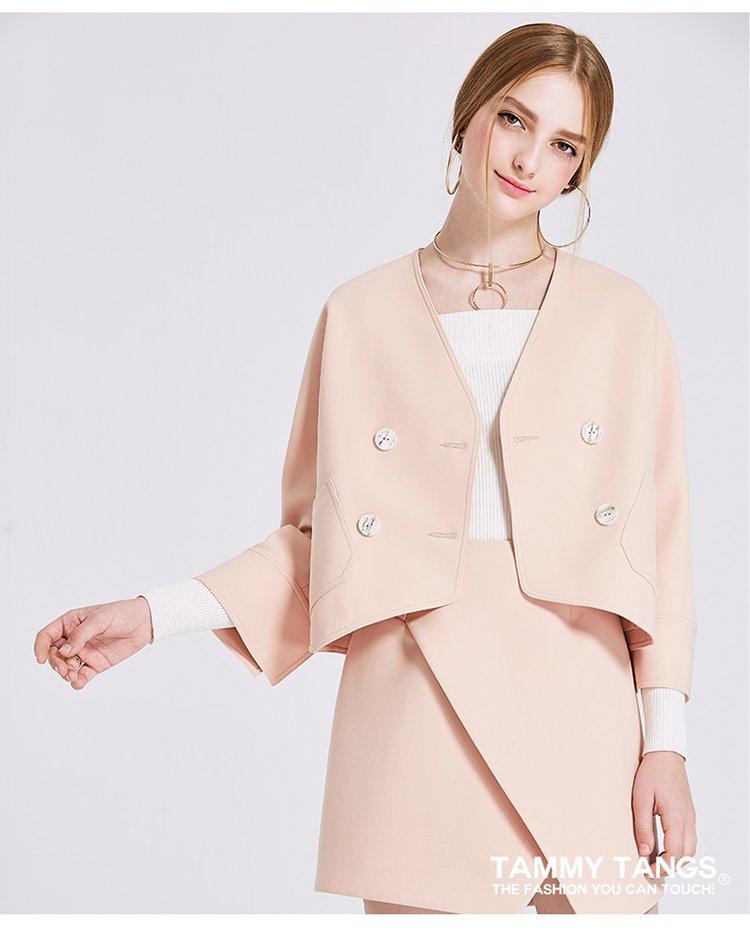 袖时尚_七分袖时尚短款百搭气质外套橘粉