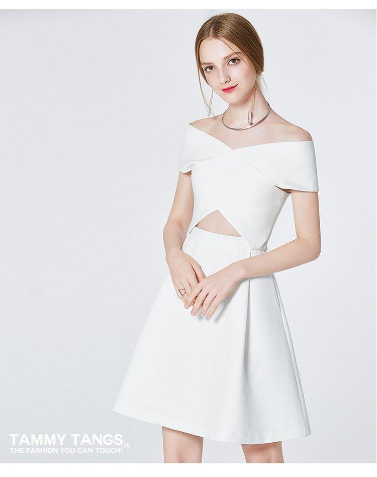露肩连衣裙一字领裙子气质时尚礼服白色