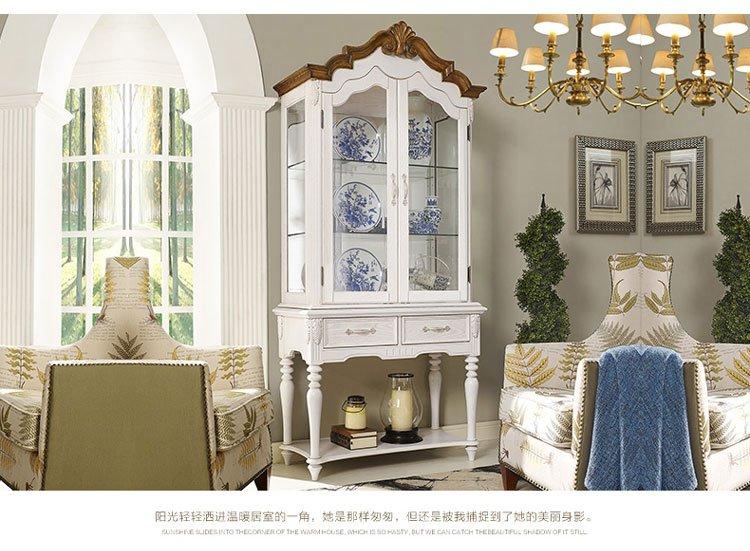 美式实木酒柜玻璃红酒柜客厅玄关柜