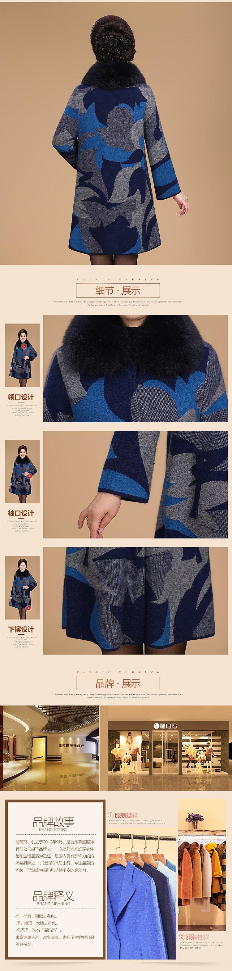 狐狸毛领针织时尚羊毛大衣(毛领可拆)蓝色
