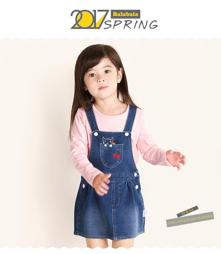 女童卡通图案牛仔背带裙儿童连衣裙牛仔浅蓝