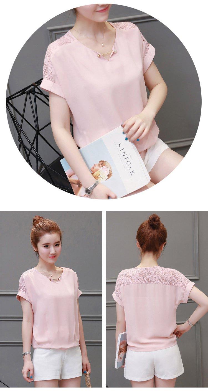 时尚百搭甜美可爱宽松拼接蕾丝休闲衬衫