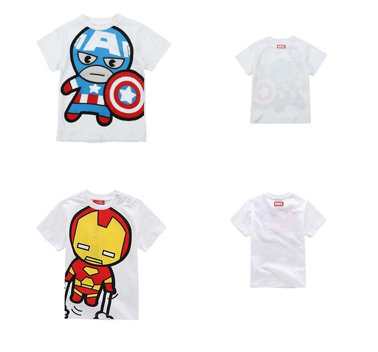 漫威-男童卡通可爱t恤白色