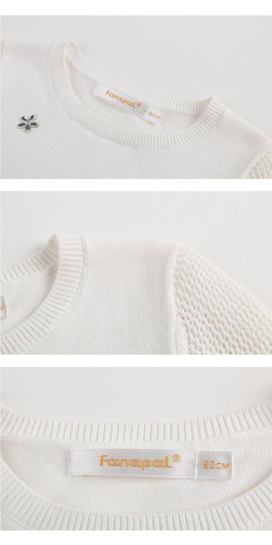 女童钉小花编织衫本白