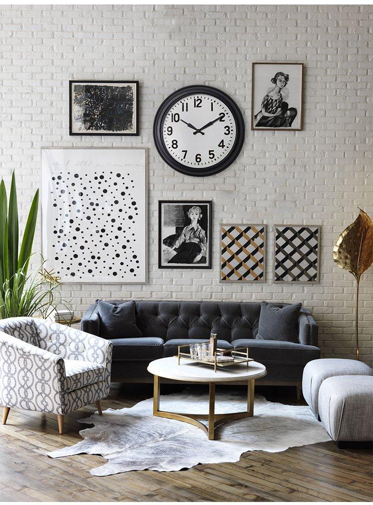 美式现代墙面装饰 大表盘挂钟 查尔斯