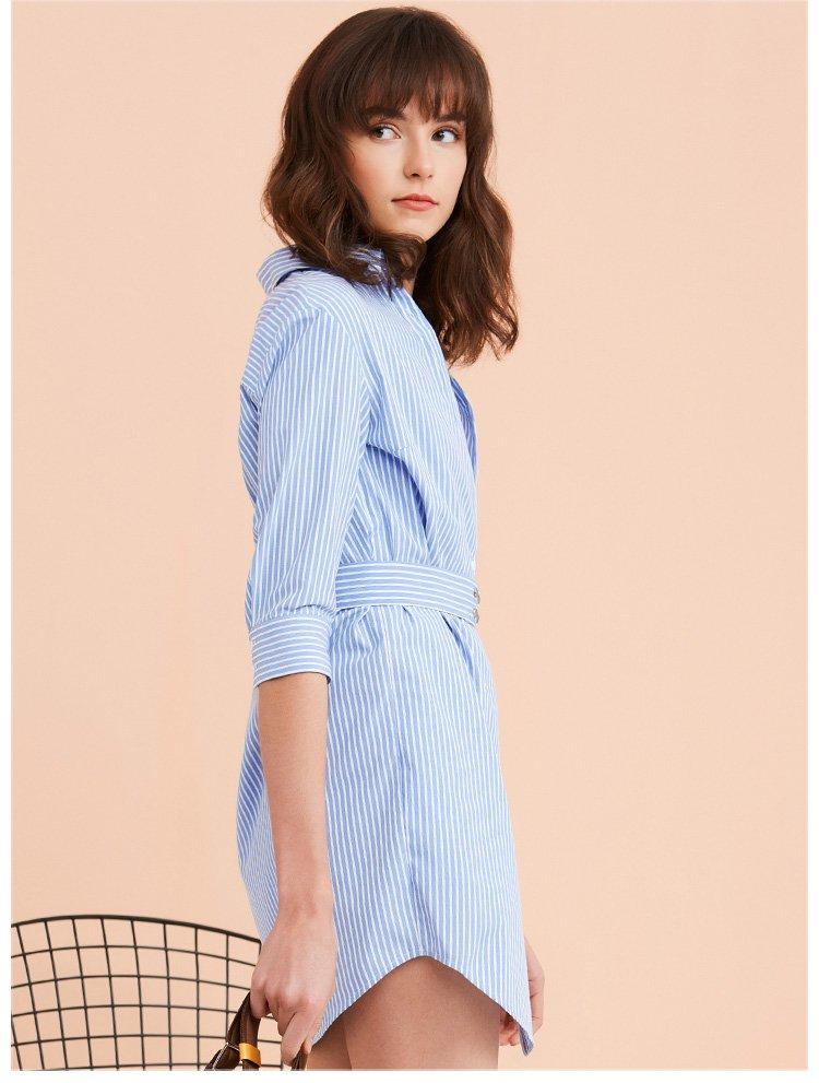 条纹衬衫式连衣裙