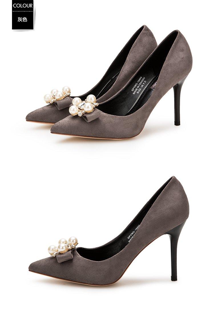 单鞋尖头高跟鞋水钻蝴蝶结鞋