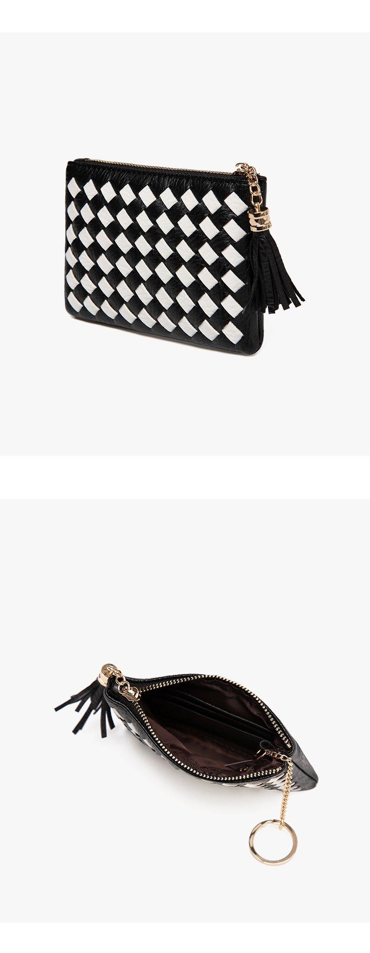 2017年新款格子编织零钱包黑白色