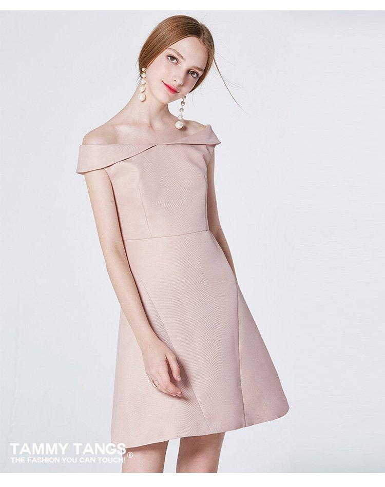 糖力tammy tangs原创设计一字领露肩收腰连衣裙中长款