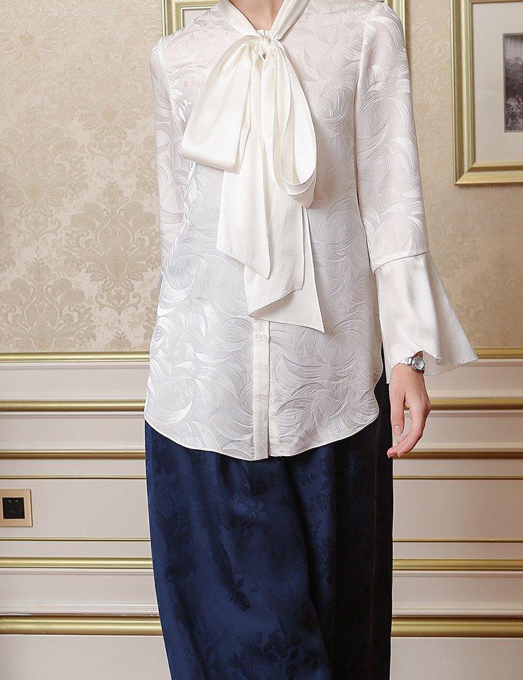 袖跺(h�(�_皎洁白色喇叭袖系带领丝绸衬衫