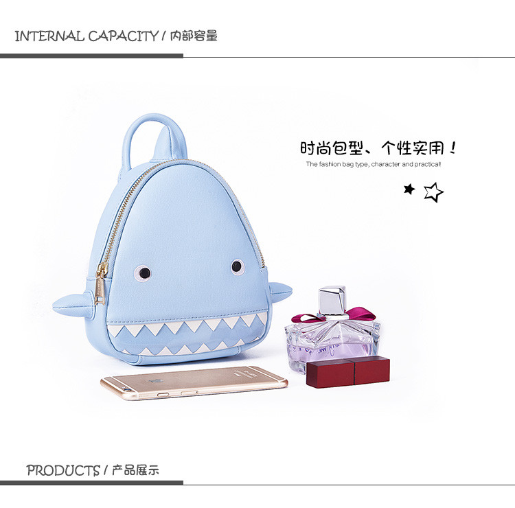 17新款可爱小鲨鱼造型双肩包浅蓝色