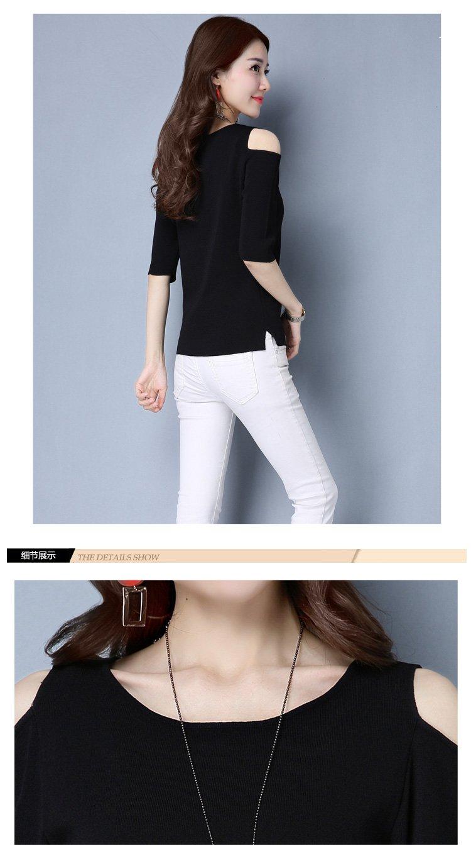 女黑礹/&�yi)��-z)�bi_女黑色露肩百搭纯色针织衫