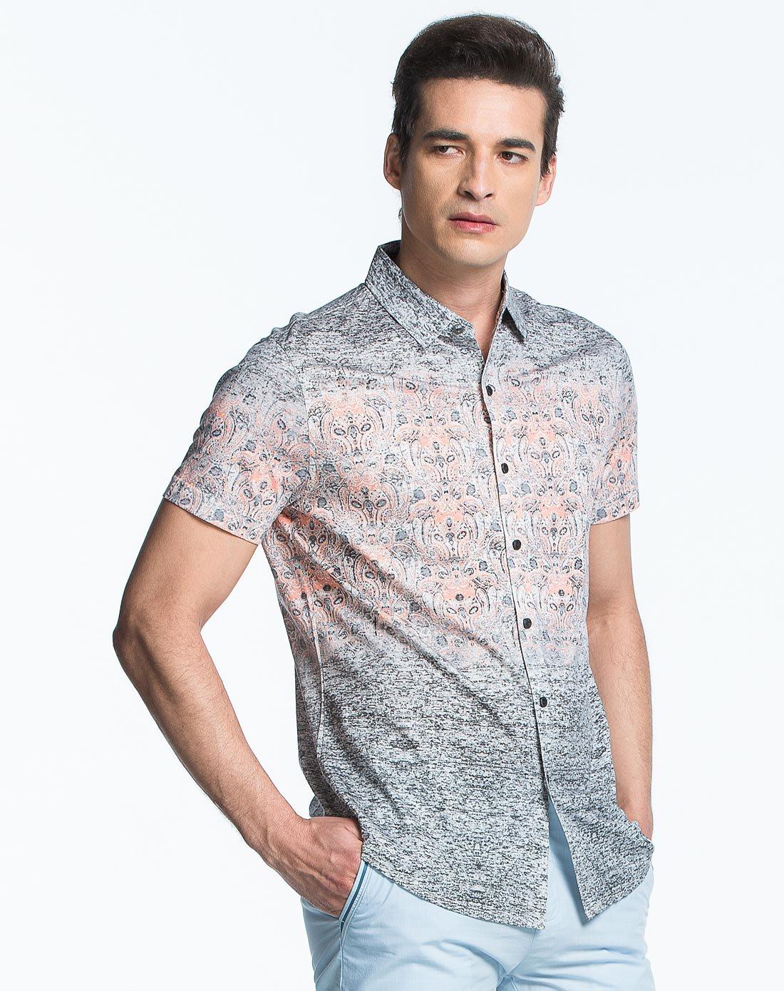 男士古典花纹渐变短袖衬衫
