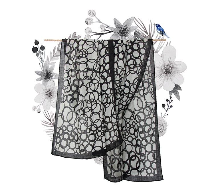 炫彩飞扬时尚印花长巾黑白泡泡