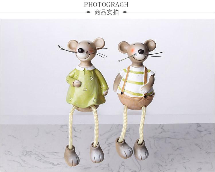 创意田园可爱树脂玩偶摆件 吊脚萌鼠1对