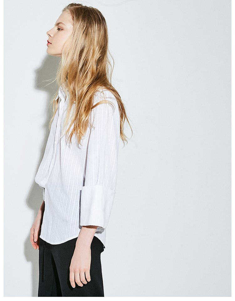 ol风西装领宽袖口衬衣白色