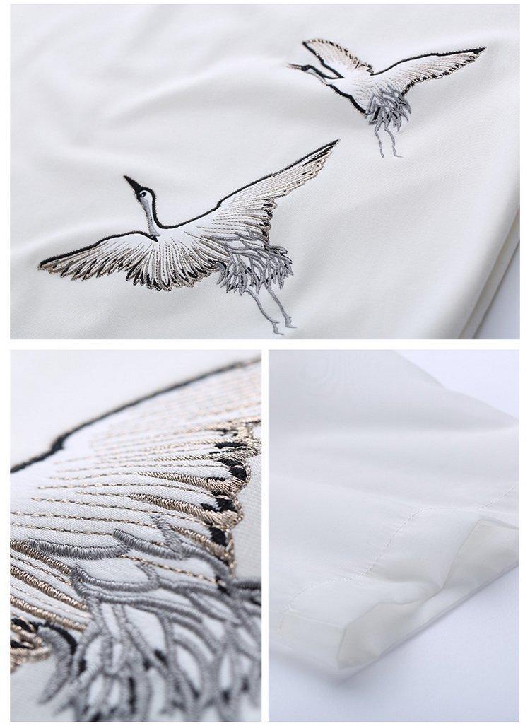 【夏新品】中国风仙鹤刺绣图案t恤米白色