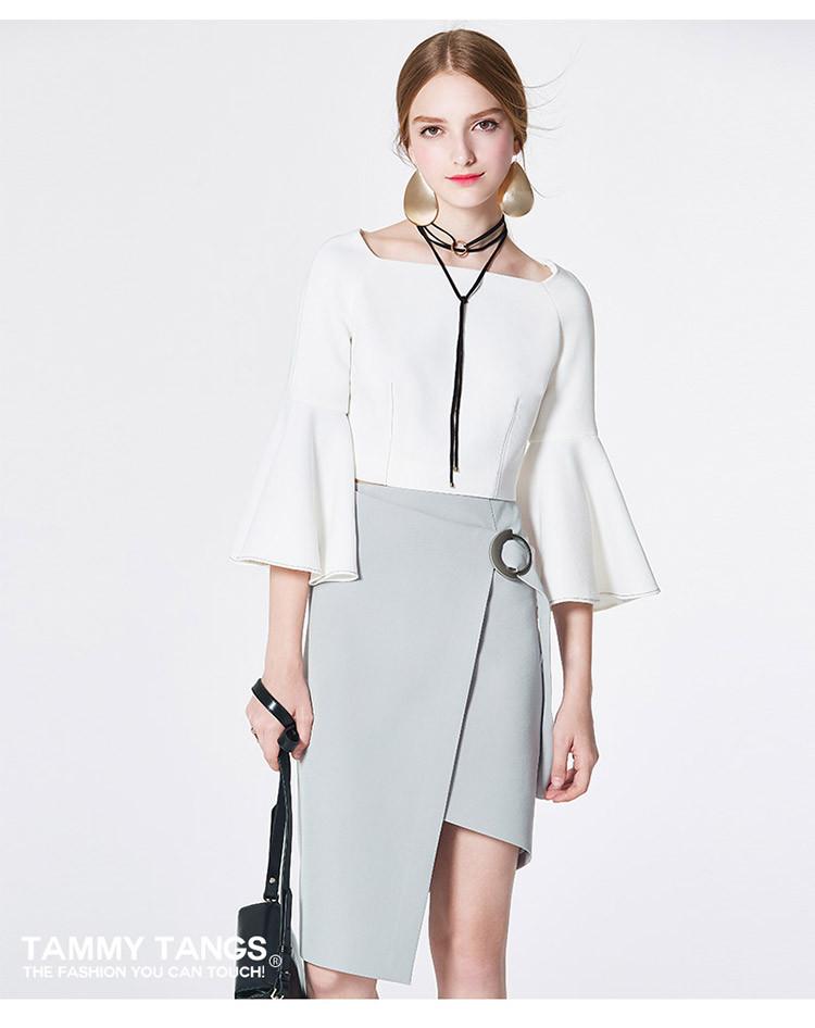 糖力tammy tangs原创设计一字领荷叶袖短款上衣时尚ct