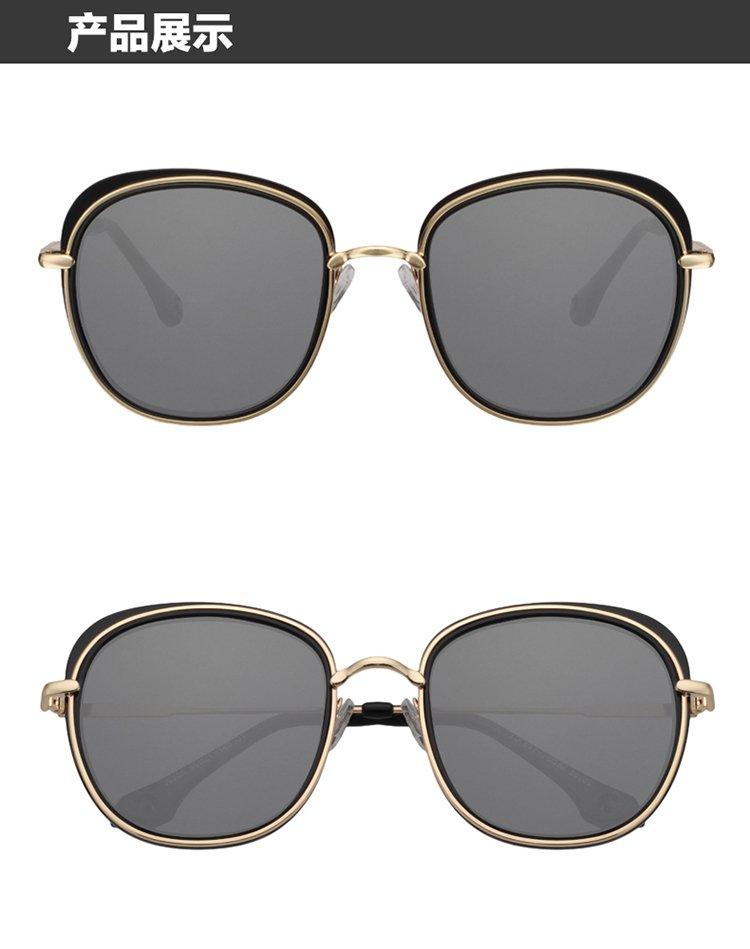 时尚百搭圆框金色边太阳镜灰色片