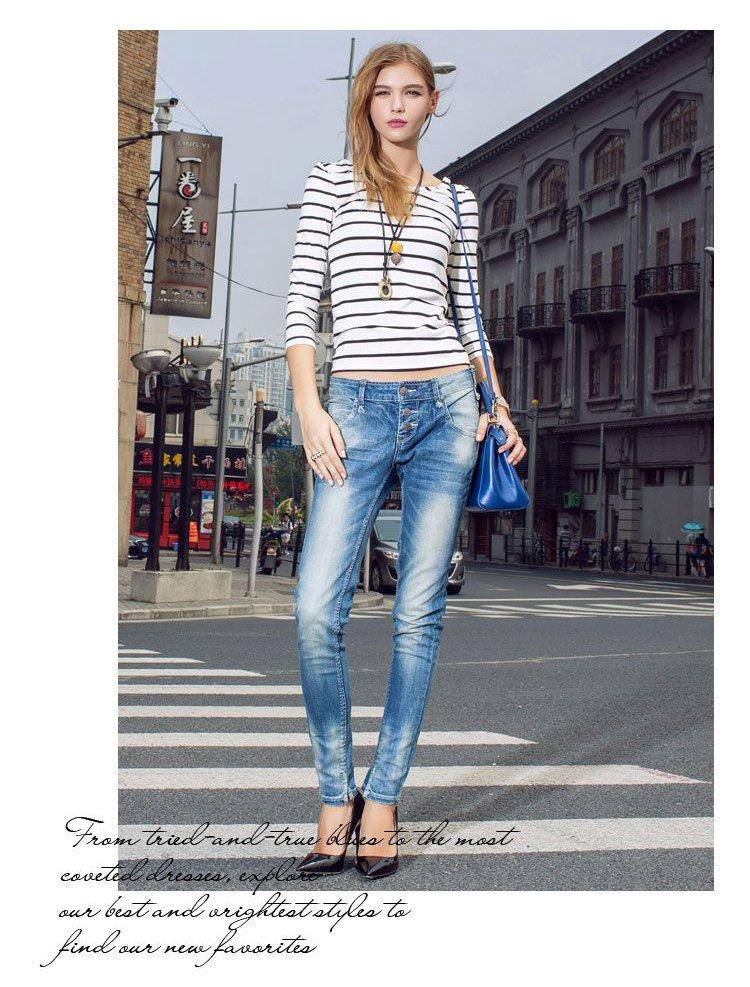 女式低腰小脚牛仔裤石墨蓝