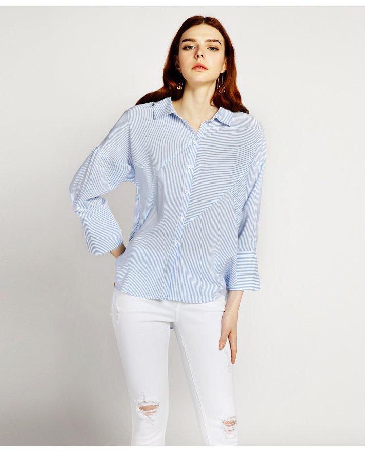 女式中袖衬衫_品牌名称: 池希 商品名称: 前片分割中袖衬衫蓝白条 商品分类: 女式