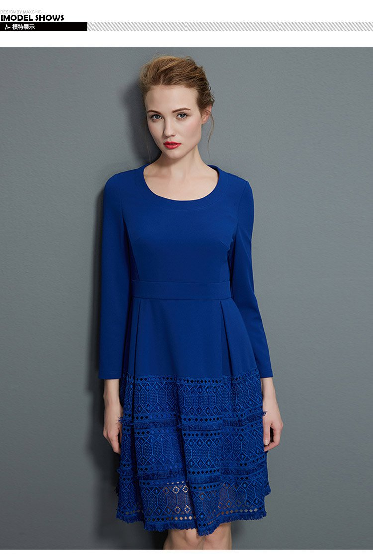 玛汐maxchic女装专场 圆领长袖连衣裙  适用季节: 春 裙型: a字裙